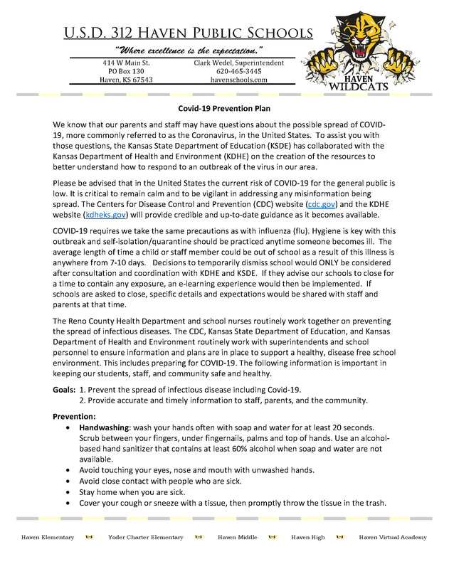USD 312's Statement on Covid-19