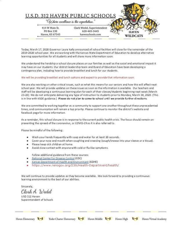 USD 312 Covid-19 School Closure Response
