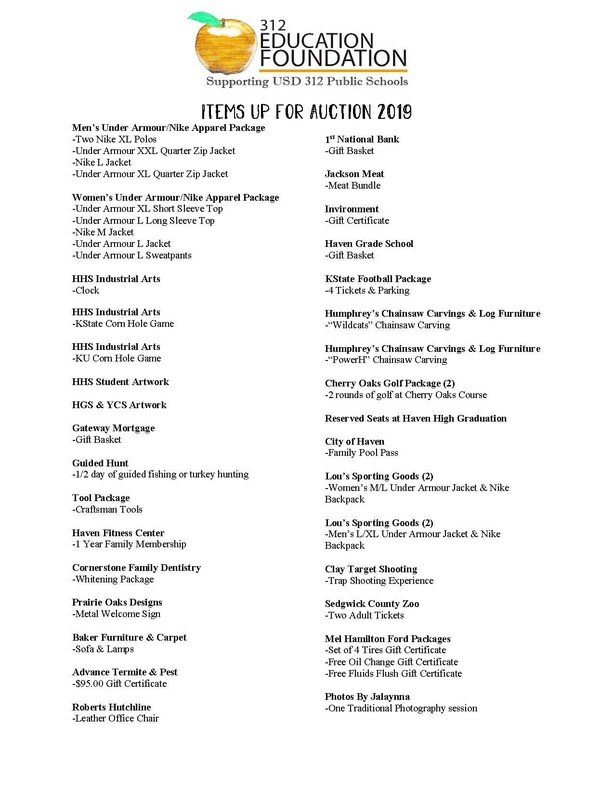 List of Auction Items 2019